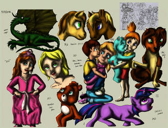 Random cartoon characters - digital colour 2 test by elfman83ml