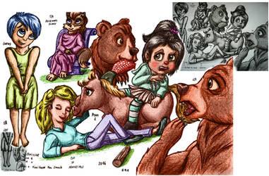 Random cartoon characters - digital colour test 3 by elfman83ml
