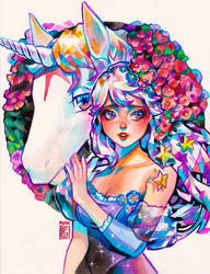 Lady Amalthea: The Last Unicorn by rianbowart