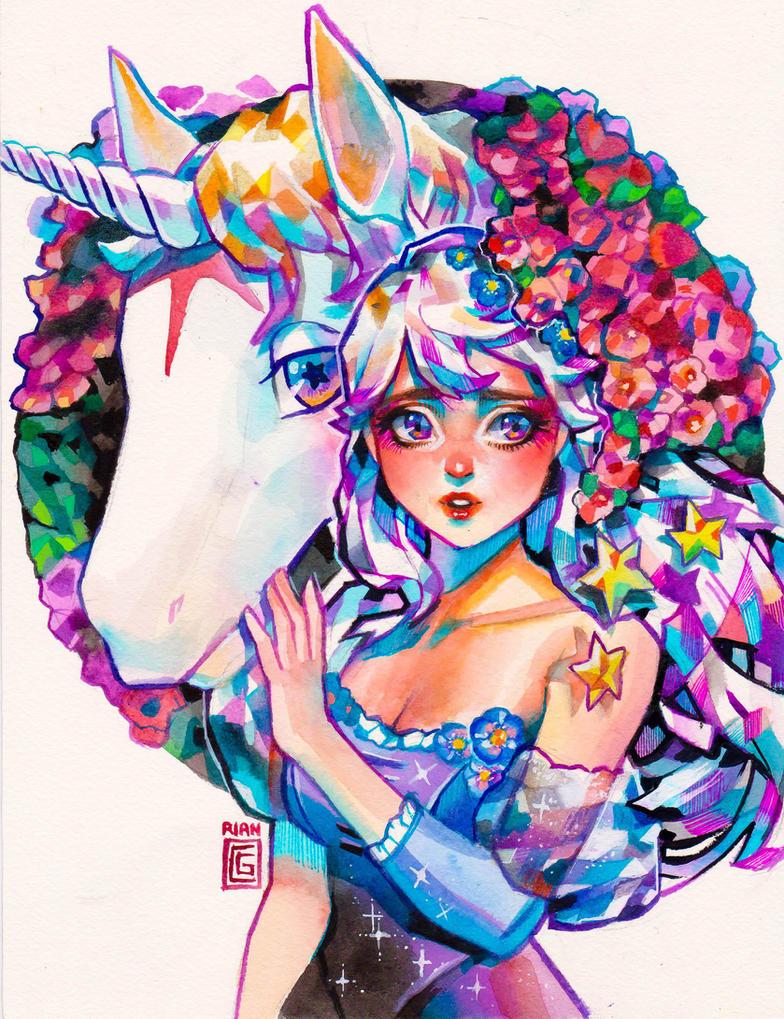 Lady Amalthea: The Last Unicorn by rianbowart