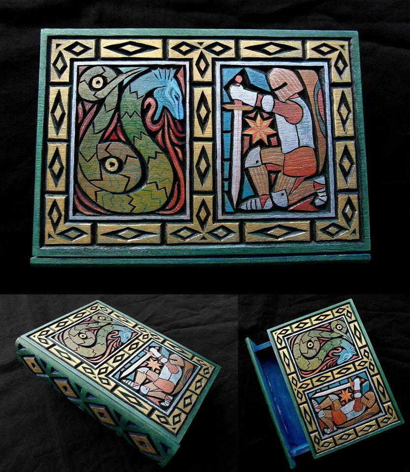 DRAGON and KNIGHT Book box by MassoGeppetto