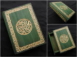 CELTIC BOOK BOX WITH GOLDEN CARVINGS