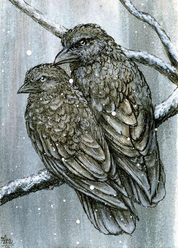 Snow Crows by LisaCrowBurke