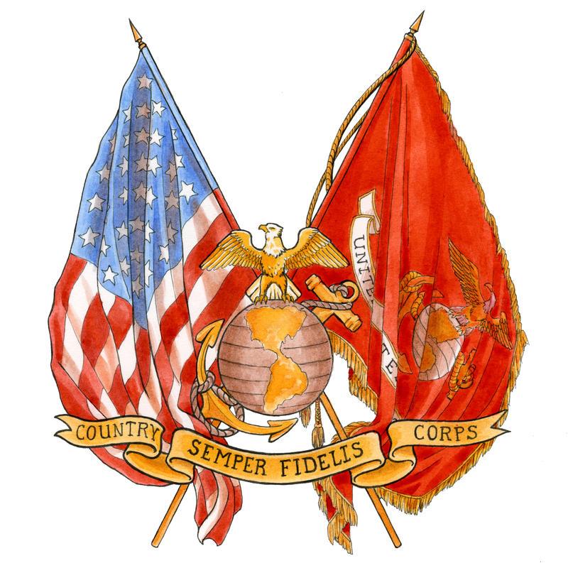 USMC crossed flags w EGA by LisaCrowBurke on DeviantArt