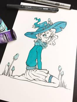 Mushroom witch, Inktober 2017