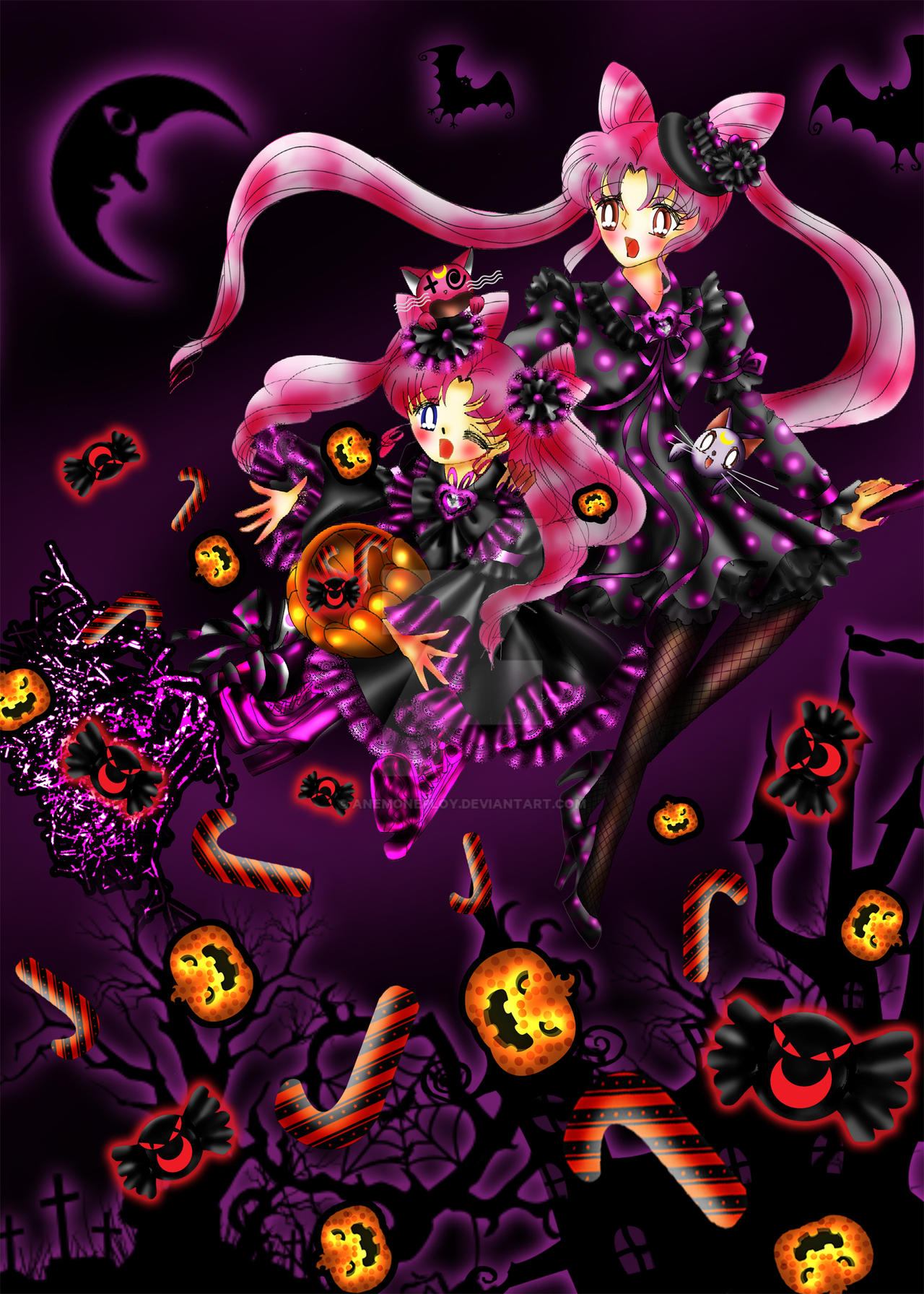 Chibiusa and Kousagi in Halloween by anemoneploy