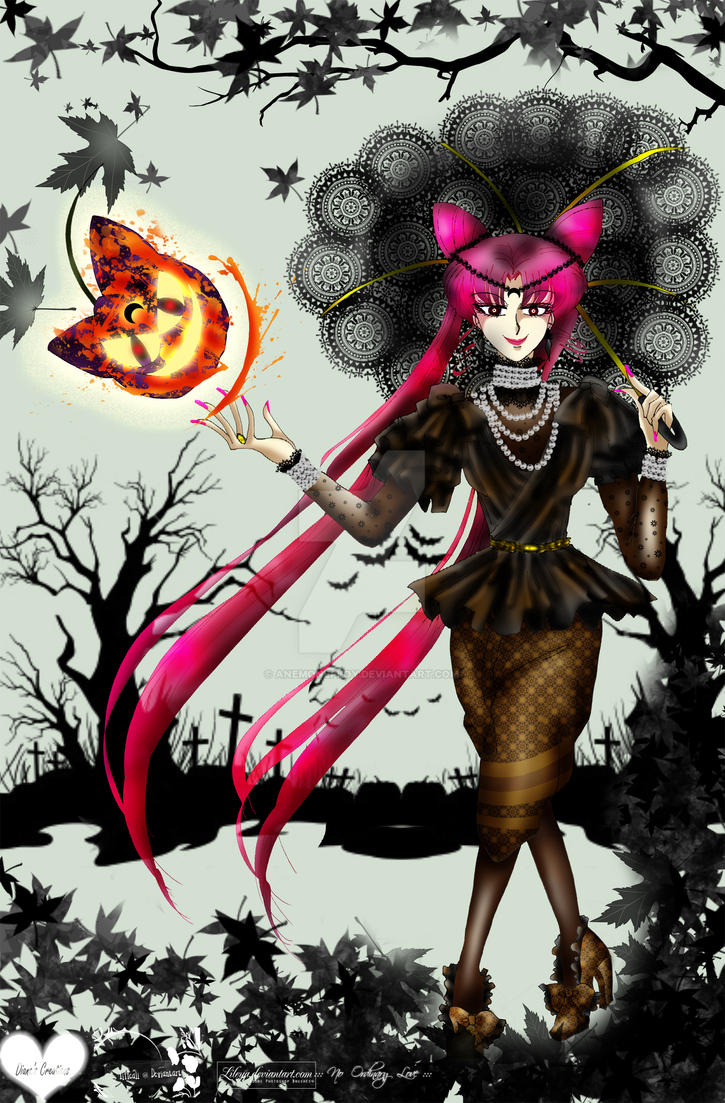 Black Lady in Halloween Autumn by anemoneploy