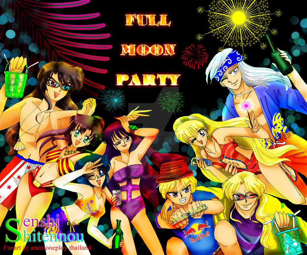Full Moon Party Inner SenshiXShitennou by anemoneploy