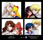 Inner Senshi (High school uniform) X Shitennou by anemoneploy