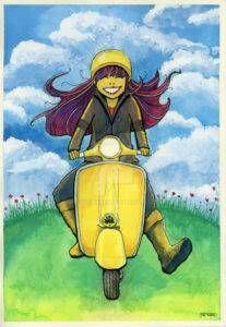 Happy Scooter Girl by glowmonkey