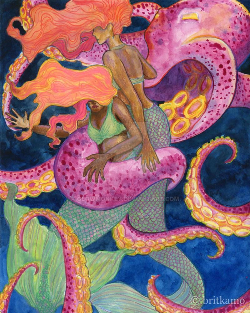 Mermaids' Struggle by glowmonkey