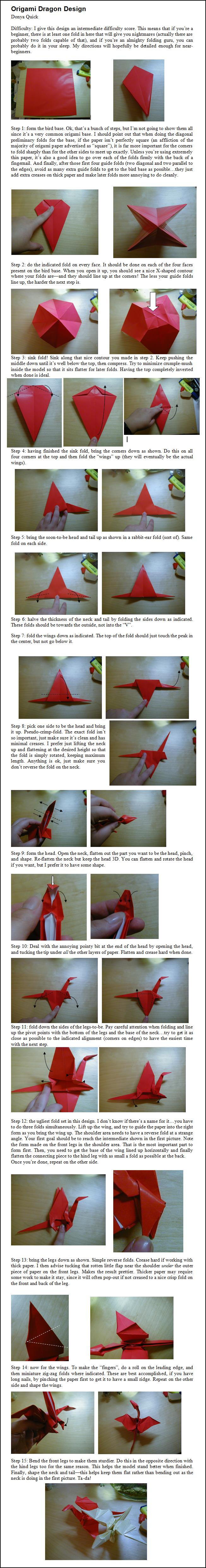 Origami Dragon Face Instructions | Free Printable Papercraft Templates | 4958x653