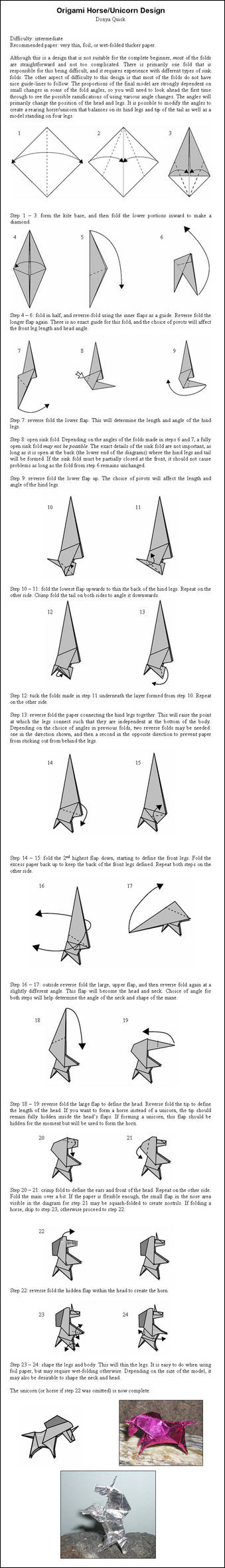 Origami Unicorn - Instructions by DonyaQuick