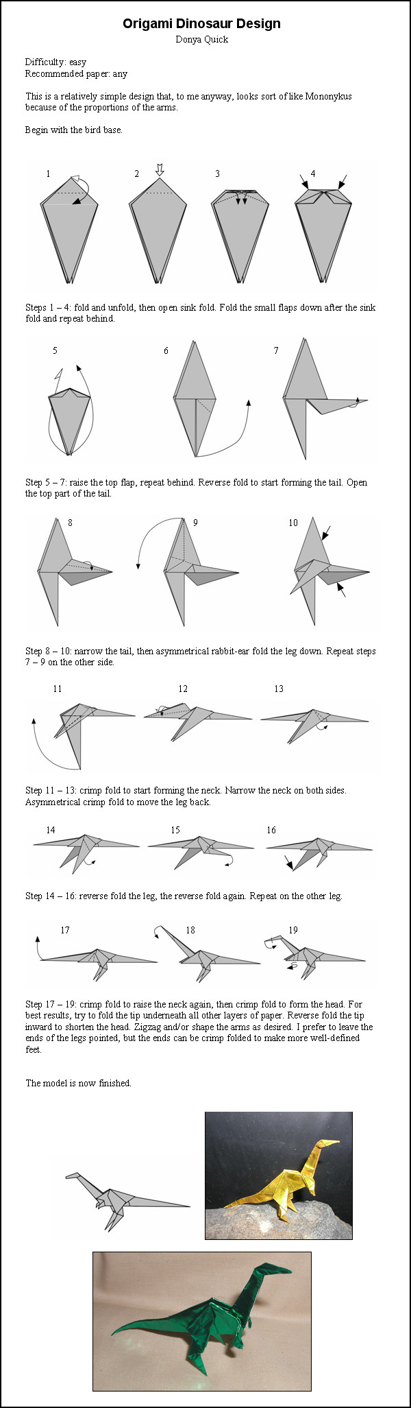 Bird Origami Diagram Free Wiring For You Easy Diagrams Dinosaur Instructions By Donyaquick On Deviantart Hummingbird
