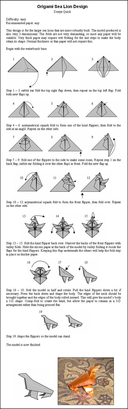 Origami Sea Lion Instructions By Donyaquick