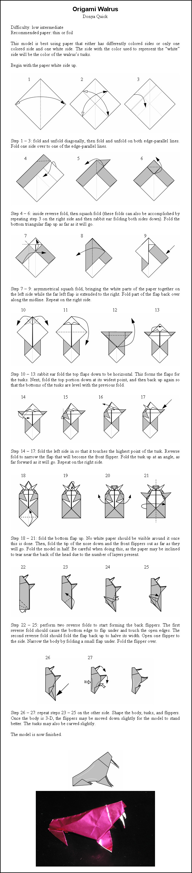 Origami Walrus Instructions by DonyaQuickOrigami Dragon Instructions Advanced