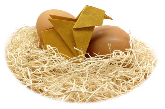 Origami Chick with Eggs
