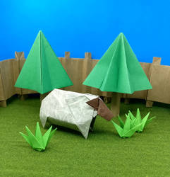Origami Sheep with Trees