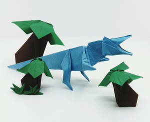 Origami Baryonyx With Cycads