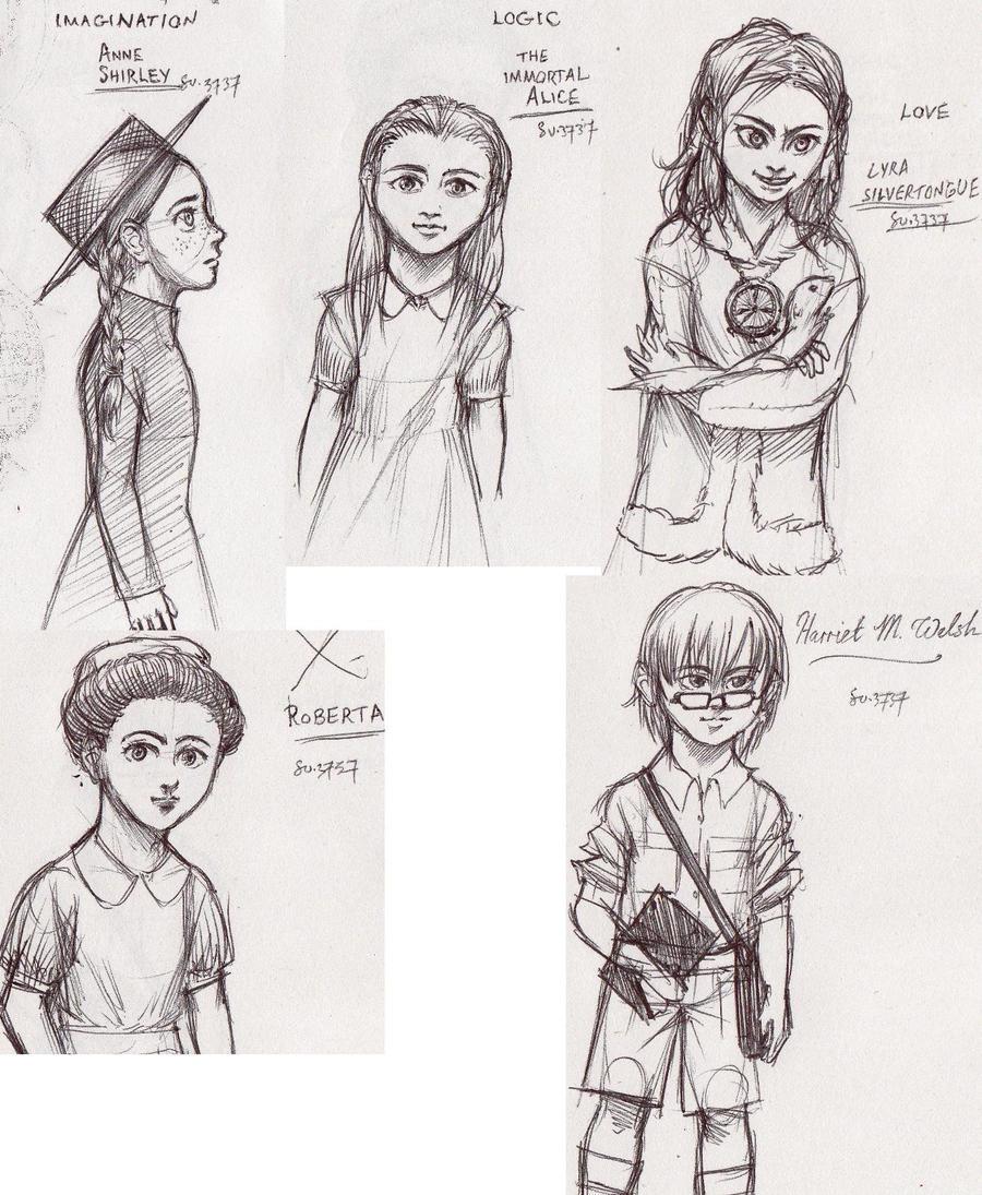 Heroine Sketches by Desgan