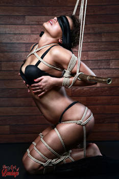 Blindfold, tied in lingerie to a bamboo tube - Fin