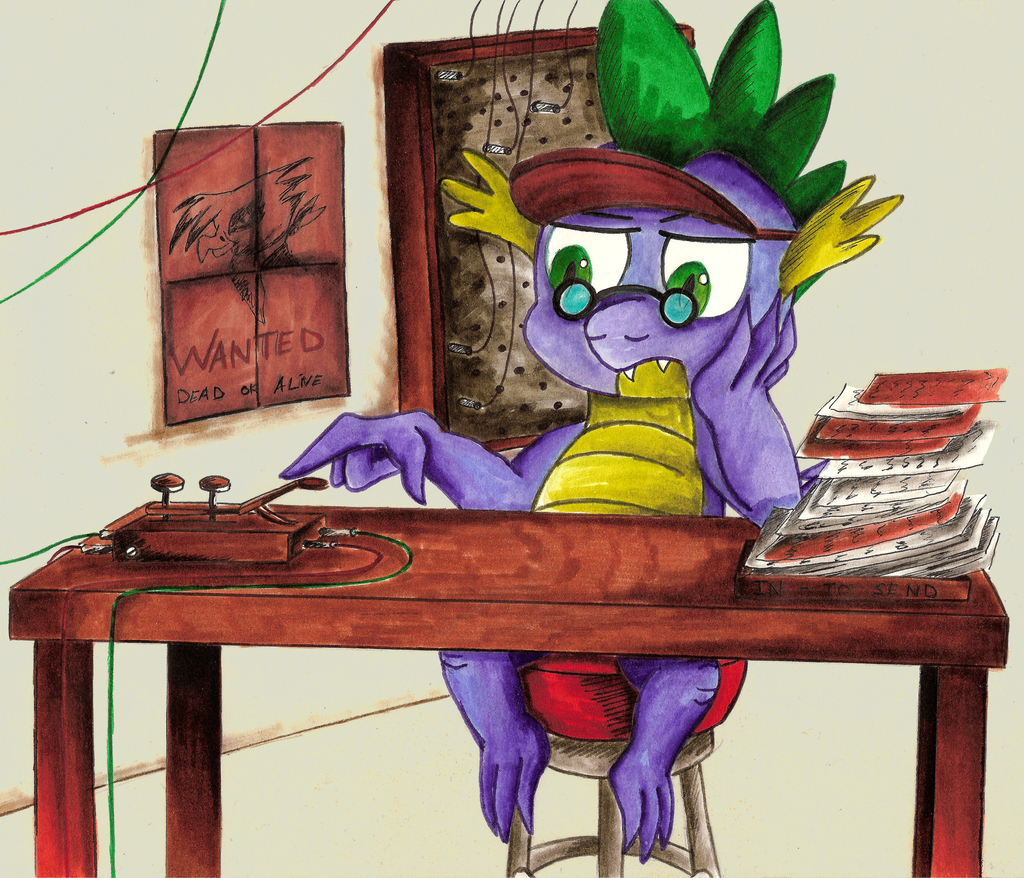 Comission - MLP. Spike and Co Telegraphist by jamescorck