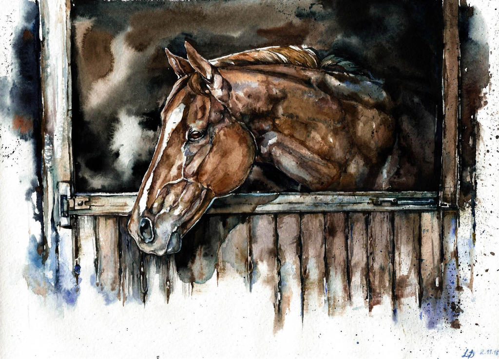 Horse, watercolor by LomovtsevaOlga