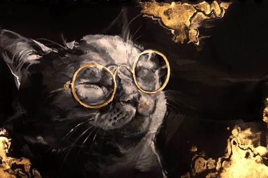 Gold cat. Gouache