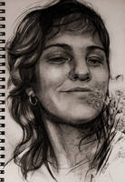 portrait sketch with flowers