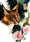 caracal with eustoma, watercolor