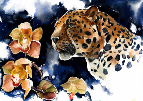 Leopard with orchids, watercolor