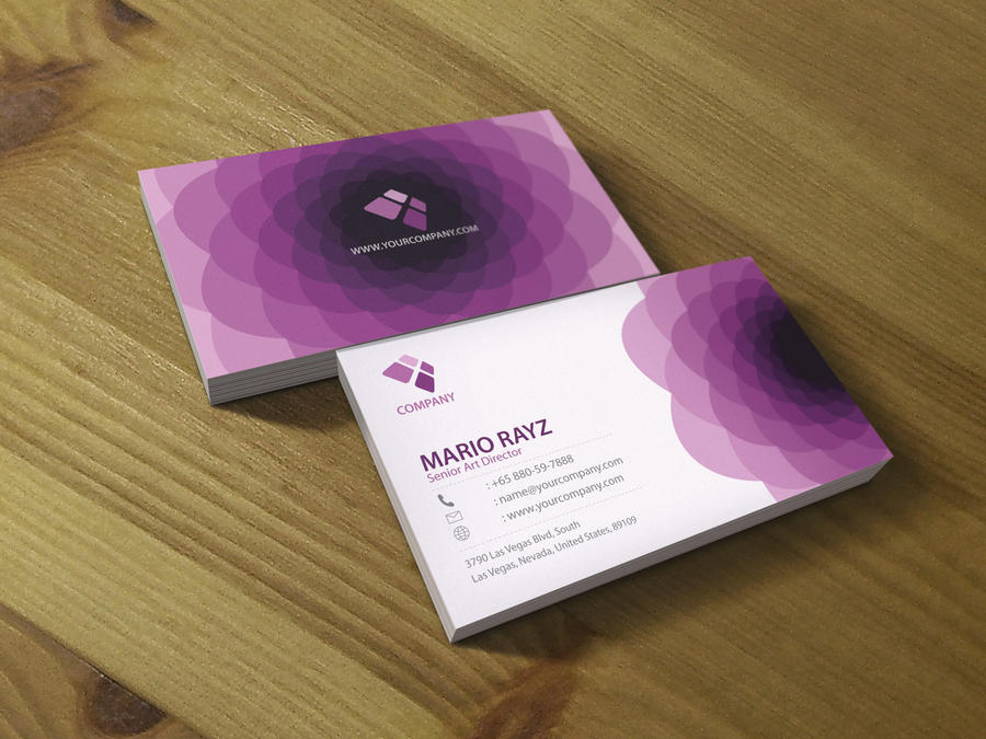Purple flora business card 02 by Lemongraphic
