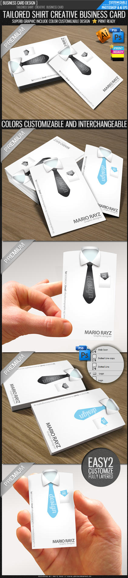 Tailored shirt die cut card by Lemongraphic