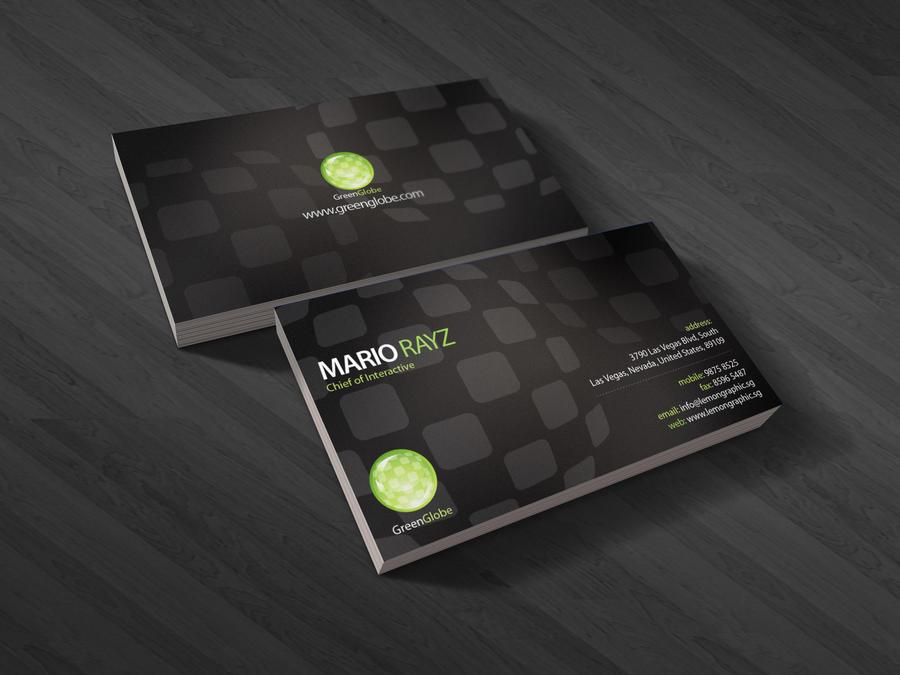 Green globe business card