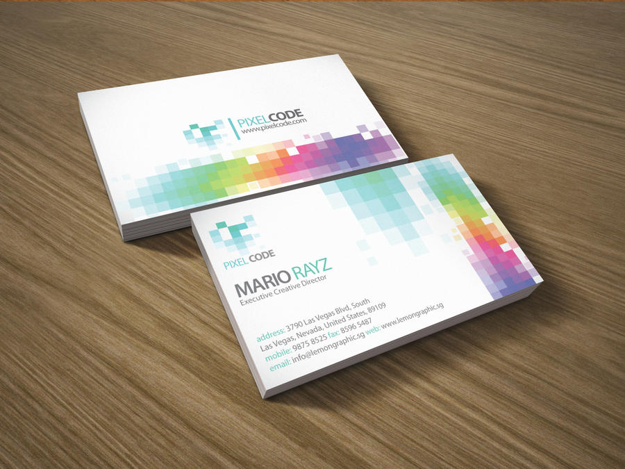Pixel code business card by lemongraphic on deviantart for Business card pixels