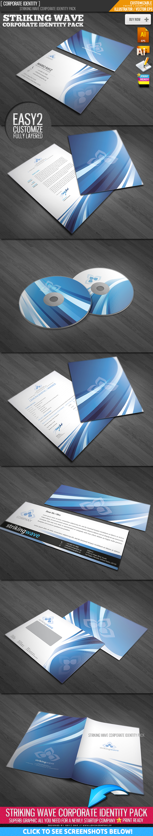 Striking wave corporate identity by Lemongraphic