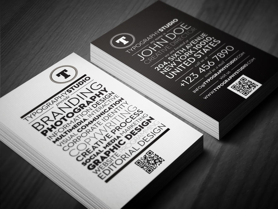 Typography Studio quick response business card by