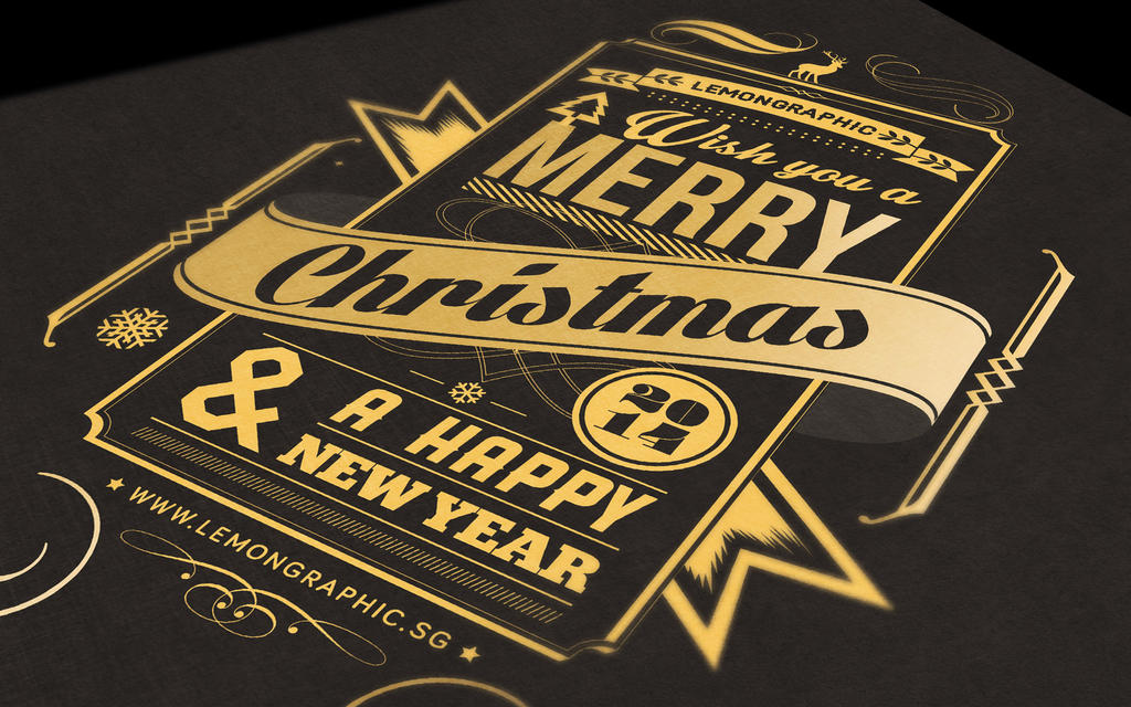 Christmas card typography gold stamp 2014 by Lemongraphic on DeviantArt