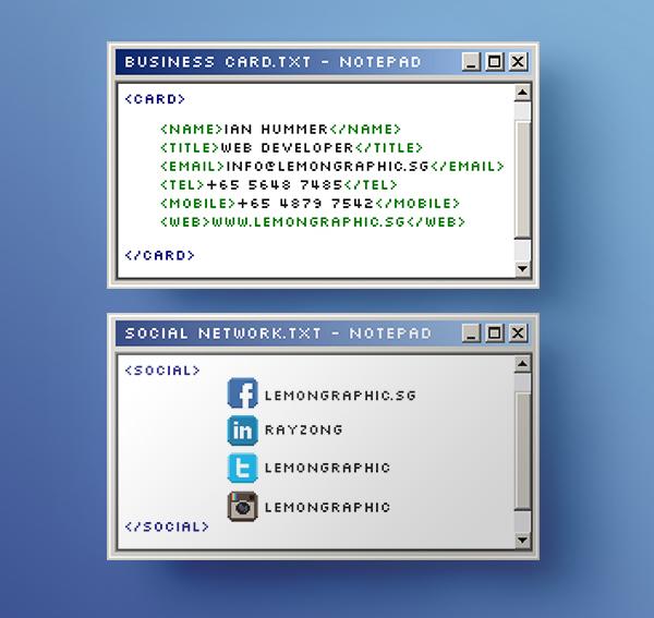 notepad programmer business card design by lemongraphic on deviantart