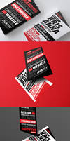 Matator red typography business card design