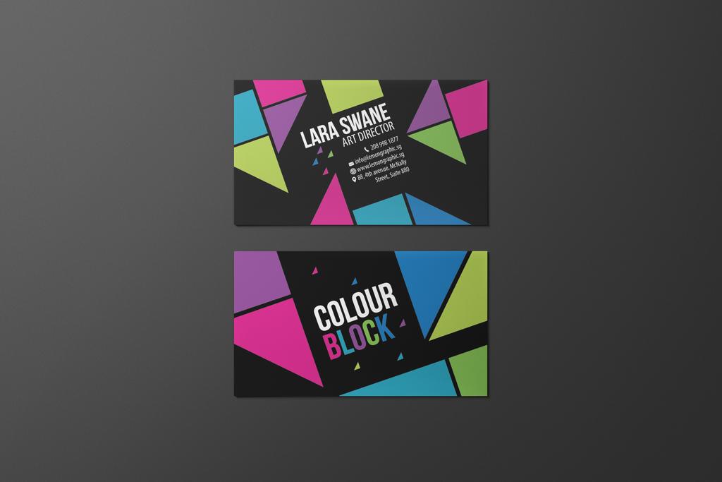 colour block business card design by lemongraphic on. Black Bedroom Furniture Sets. Home Design Ideas