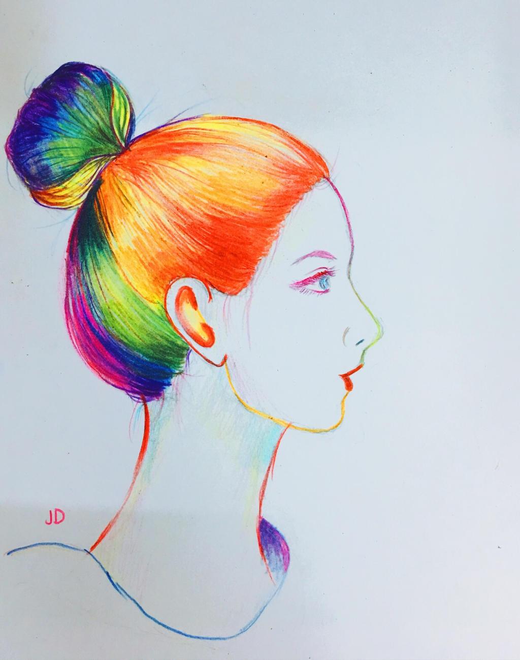 Girl With Rainbow Hair By Jacelyndinh On Deviantart