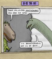 Brontosaurus at the helpdesk at ICZN by GaffaMondo