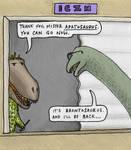 Brontosaurus at the helpdesk at ICZN