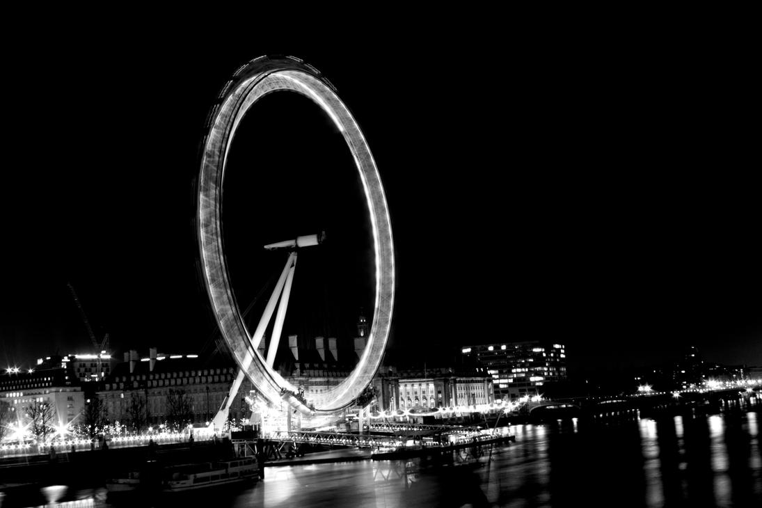 London Eye At Night Black And White By Deanio
