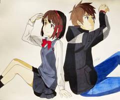 Mitsuha Miyamizu and Taki Tachibana  by MeowImAvery