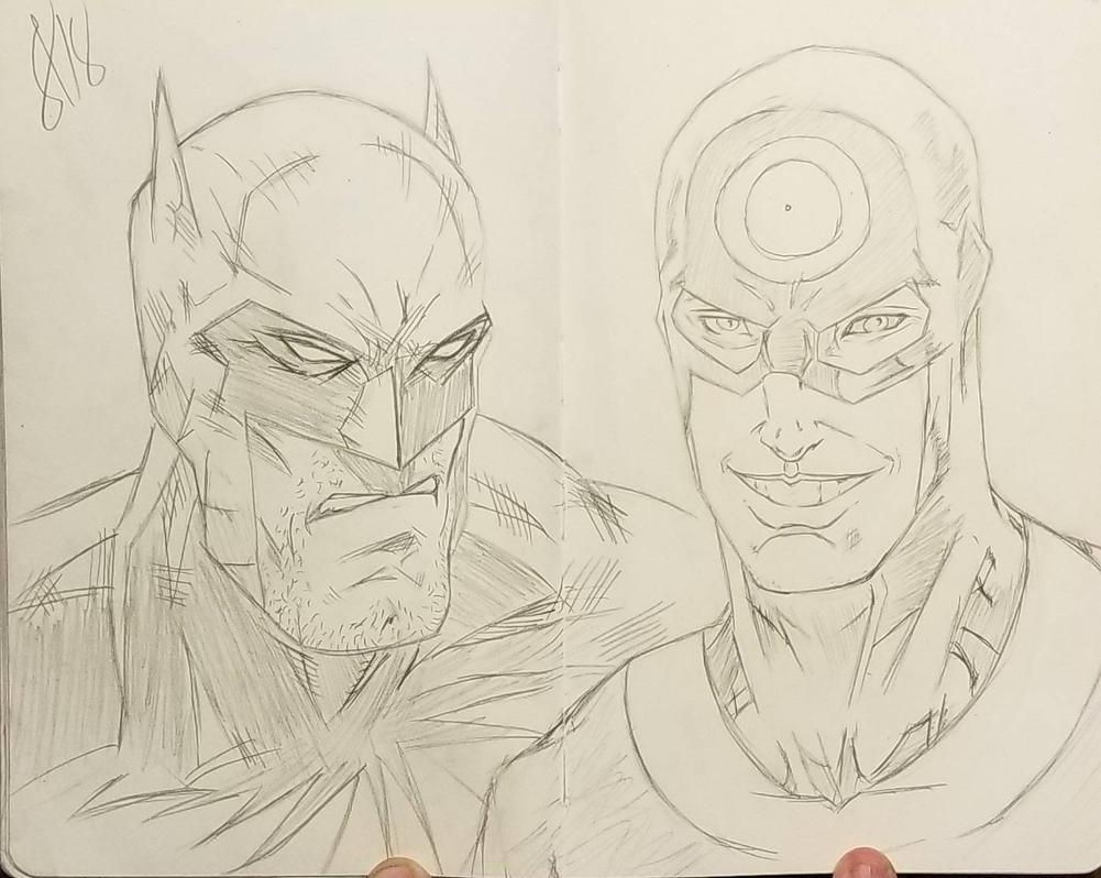 Batman and Bullseye by andyosu20