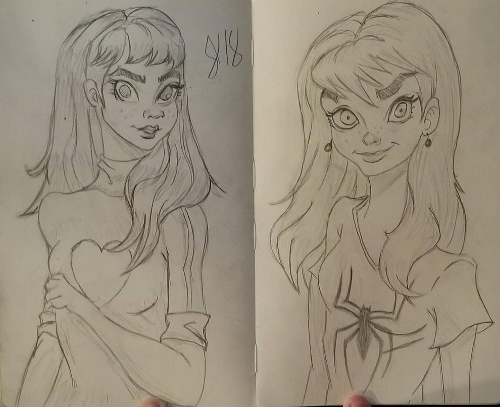 Quick Mary Jane Watson sketches by andyosu20