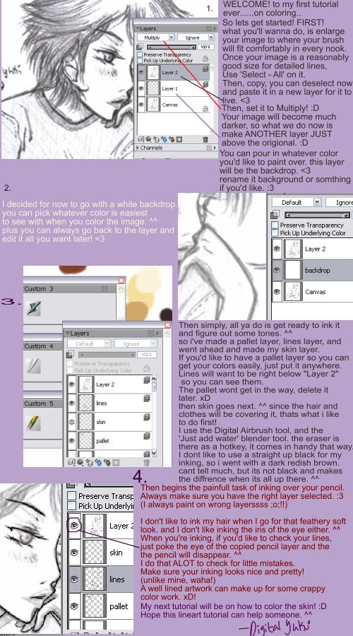 Lineart tutorial - RECHECK by DigitalYuki