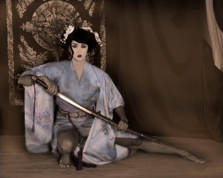 Geisha with Sword Sepia Hand Tinted by chimeramindstudio